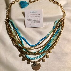 Turquoise and gold Stella & Dot necklace